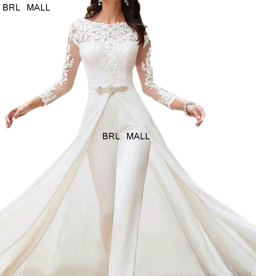 2020 Long Sleeve White Jumpsuits Wedding Dresses Lace With Overskirts Beads Crystals Plus Size Bridal Gowns Pants Dress Vestidos