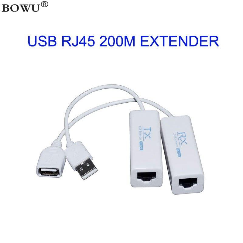 Prolongateur de câble Ethernet RJ45, USB 2.0, 200M, adaptateur TX RX, émetteur-récepteur par CAT5E ou CAT6, 200M