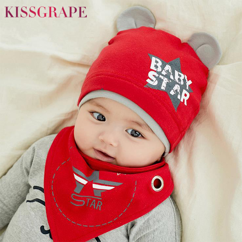 Autumn Winter Children's Hat Bib 2 Sets Boys And Girls Cotton Hats  Set Baby Solid Color Scarf Cap Two-piece Boy Girl Baby Cap