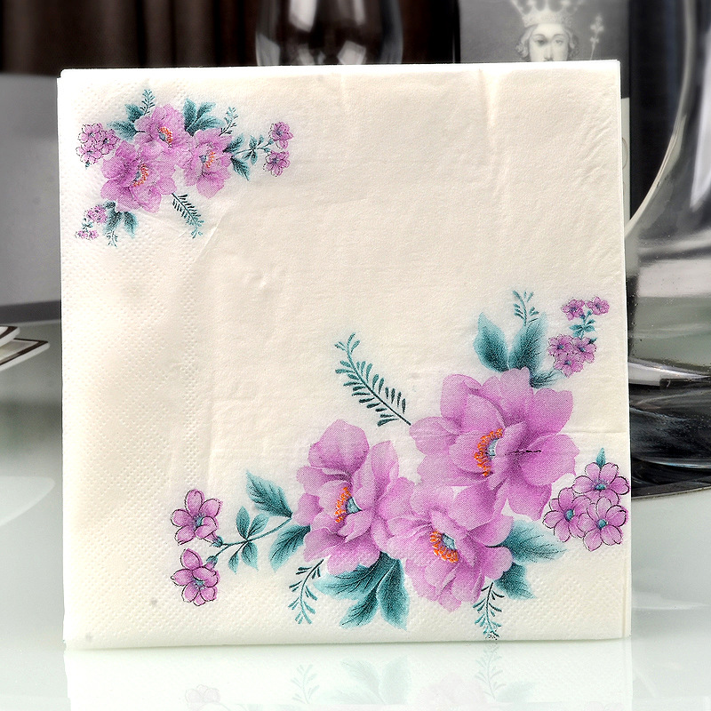 Purple Colored Napkin Rose Printed Paper Placemat Wedding Hotel Cup Stained Paper Disposable Napkin A Pieces Of Hair