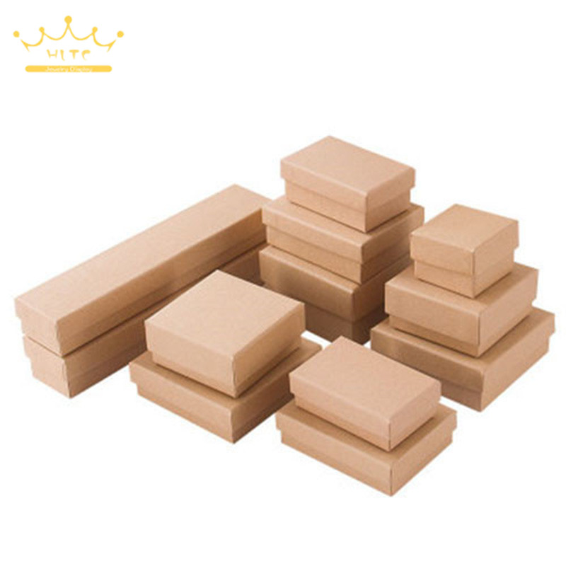 Necklace Packaging Box Jewelry Storage Kraft Paper Box With Sponge Earring Ring Case Jewellry Organizer 12pcs/Lot