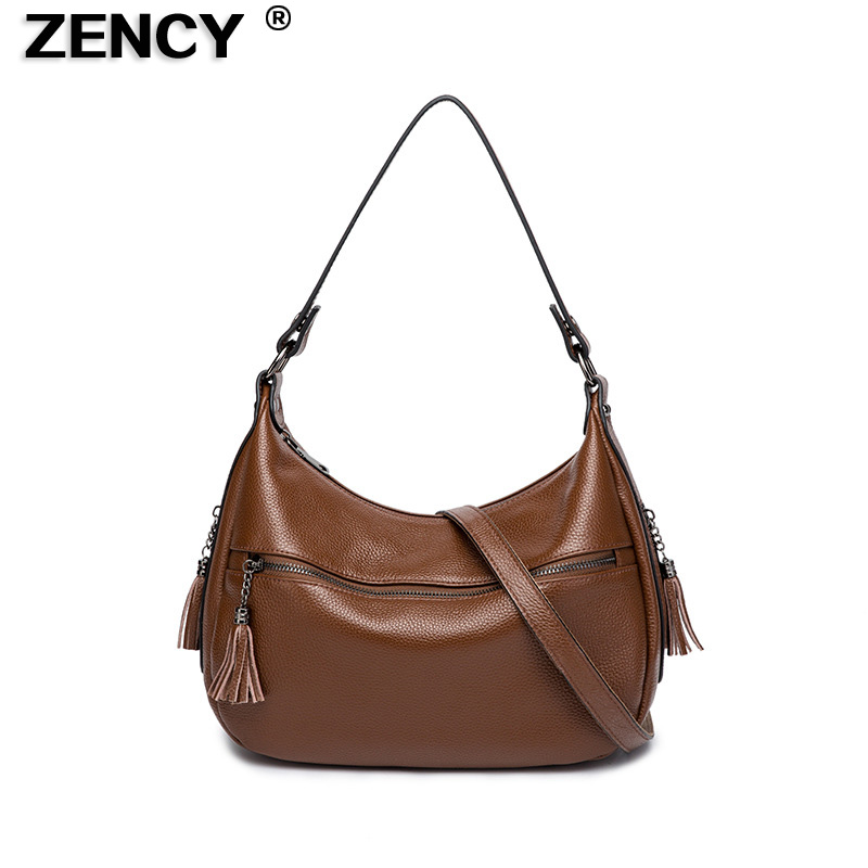 ZENCY Small Genuine Cow Leather Women Design Shopping  Lady Girl Real Top Layer Cowhide Shoulder Handle Messenger Bag Handbag