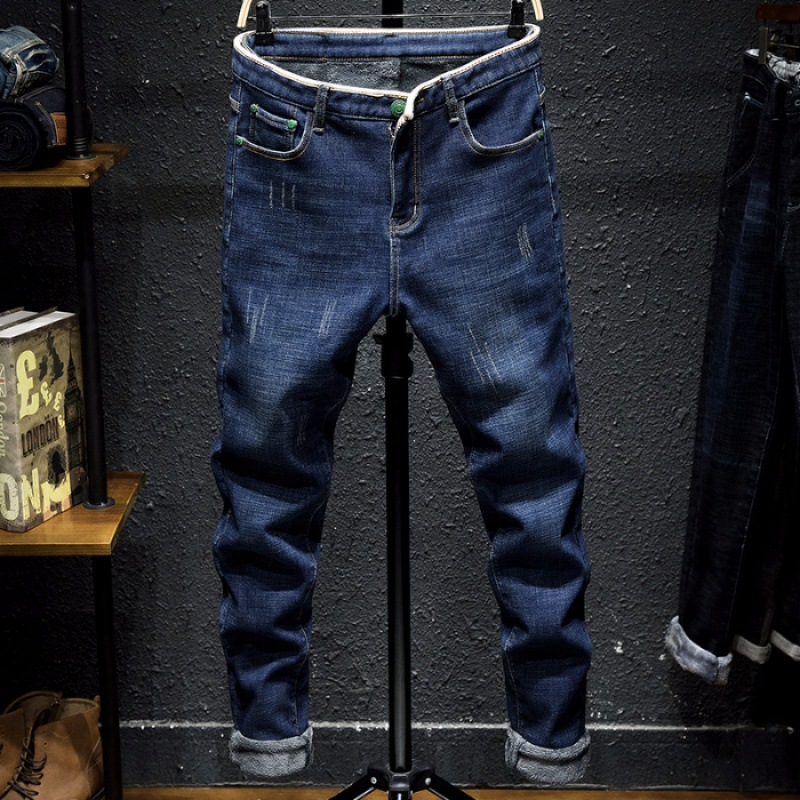 MEN'S Jeans Brushed And Thick Autumn And Winter Slim Fit Elasticity Skinny Pants Men's Casual Loose Straight Long Pants Men's