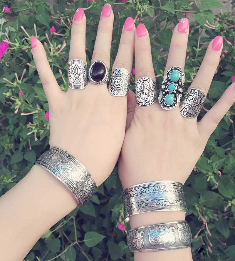 Indian Boho Gypsy Jewelry High Quality Oxidized German Silver White Plastic Stone Round Shape Design Daily Wear Finger Ring For Women