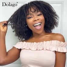 Afro perwersyjne kręcone koronki przodu włosów ludzkich peruki z grzywką 250 gęstości krótki Bob koronki przodu peruka dla kobiet czarny Remy Dolago peruka