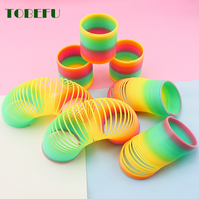 TOBEFU 1PC Rainbow Circle Funny Toys Early Development Educational Folding Plastic Spring Coil Children's Creative Magical Toys