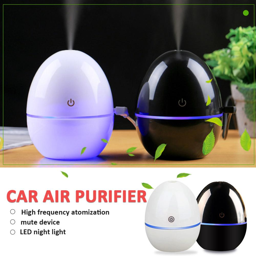 200ml USB Charging Mini Car Humidifier Aromatherapy Ultrasonic Atomizer DC5V 30ml/h Egg-shaped Air Purifier Touch Switch