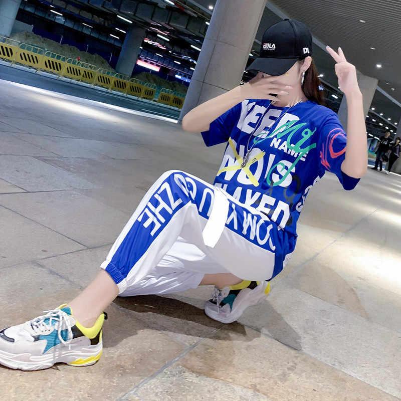 2019 בציר אופנה חדש שתי חתיכה להגדיר כיס פסים מכתב 2 Pcs סט Loose גבוה מותן קוריאני מקרית ספורט חליפה נשים