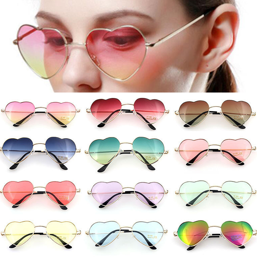 FOENIXSONG Sunglasses Women New Style Hearts Frame Mirror Oversized Sun Glasses Brand UV400 Oculos Vintage Eyewear Retro