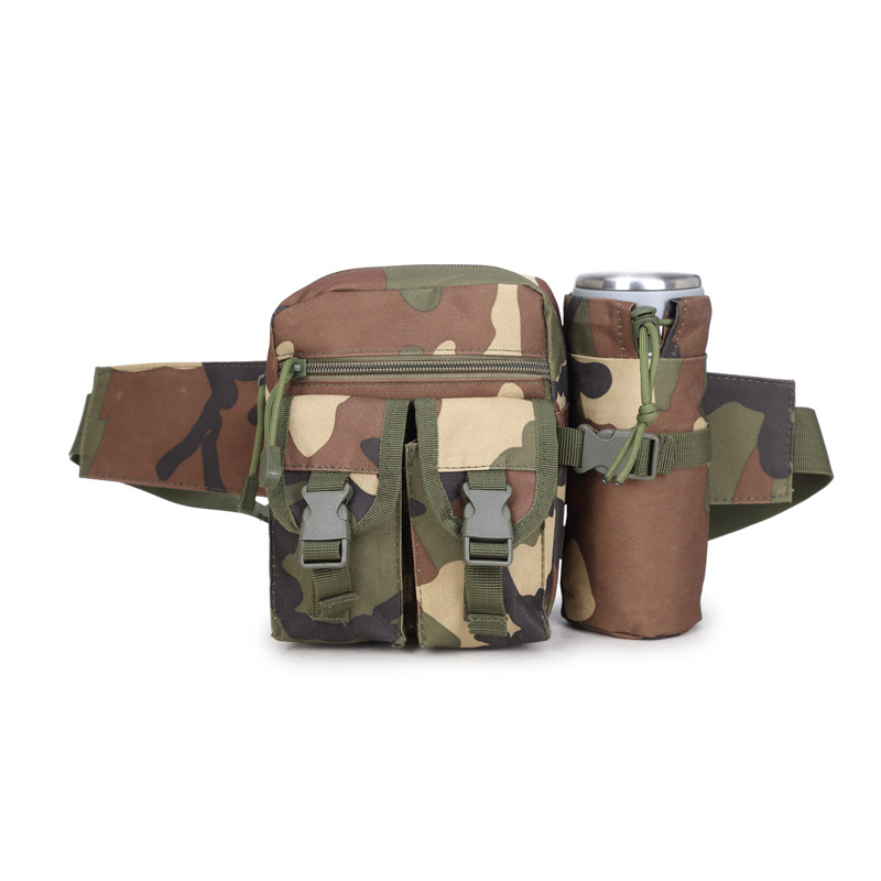 Camping Waist Bag Outdoor Mountain Riding Water Bottle Cup Camouflage Men Motorcycle Belt Bag Mountain Climbing First Aid Kit