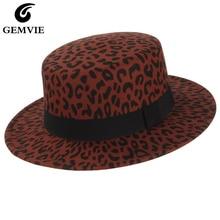 GEMVIE New Wide Brim Leopard Print Flat Top Wool Fedora Felt Hat For Women Autumn Winter Boater Jazz Cap Black band