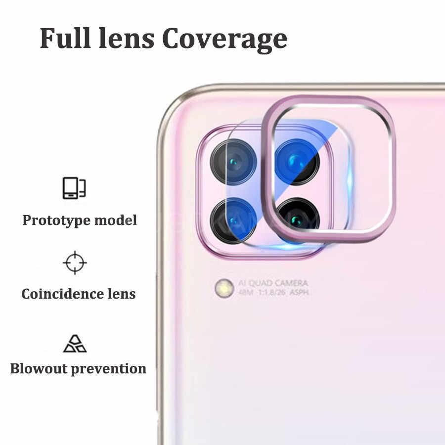 Kamera Lensa Kaca Tempered + Cincin Logam Penutup Case untuk HUAWEI P40 Pro Lite P30 P20 Kehormatan 20 9X Nova 7i 6 SE 5T Pelindung Layar