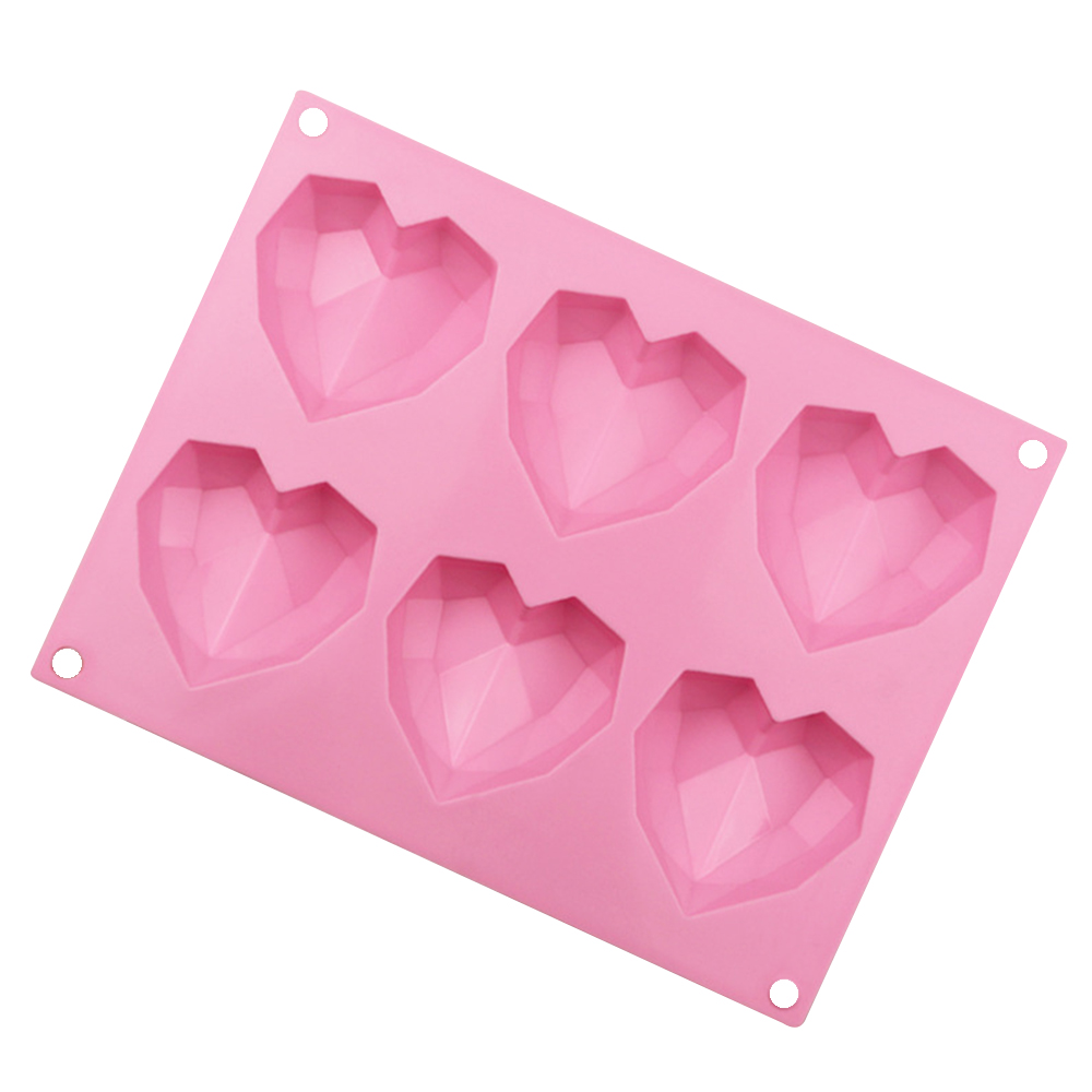 6 Holes Heart Shaped 3D Silicon Chocolate Jelly Candy Cake Bakeware Mold DIY Pastry Bar Ice Mould Baking Fondant Cupcake Tool