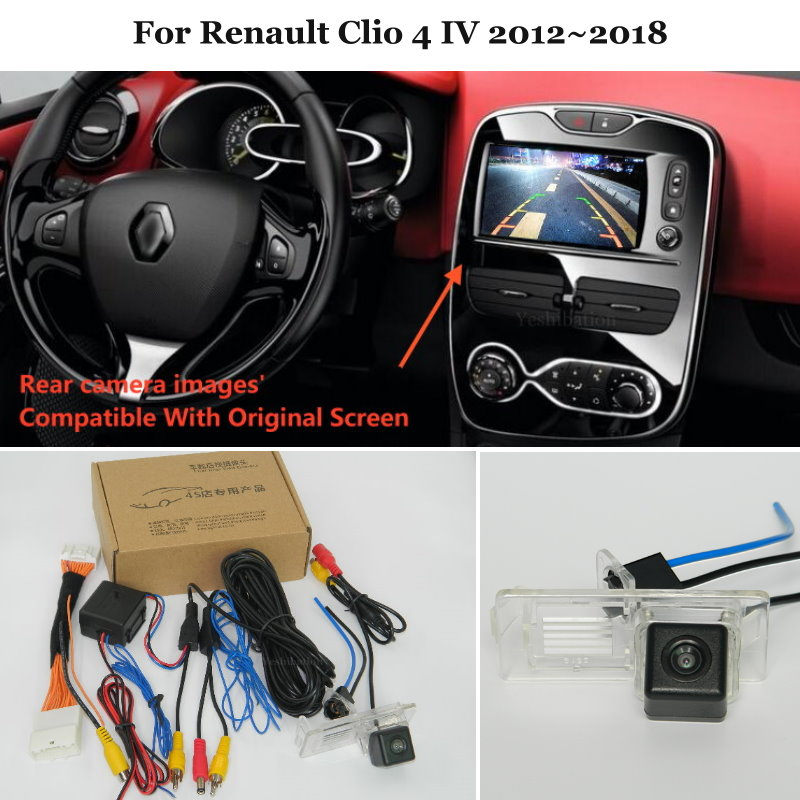 24 Pins Wire Rear View Camera For Renault Clio 4 IV 2012~2018 Connect Original Factory Screen Backup Parking Rearview CCamera