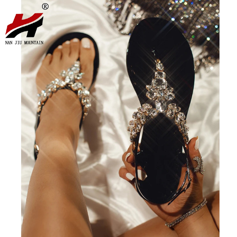 New 2020 Summer Comfortable High Quality Handmade Women's Sandals Fashion Sexy Roman Rhinestones Flat Plus Size Women's Sandals