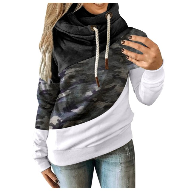 Hot Sale Women Casual Solid Contrast Long Sleeve Hoodie Sweatshirt Patchwork Printed Tops Sudaderas Mujer 2020 F Fast Ship 6