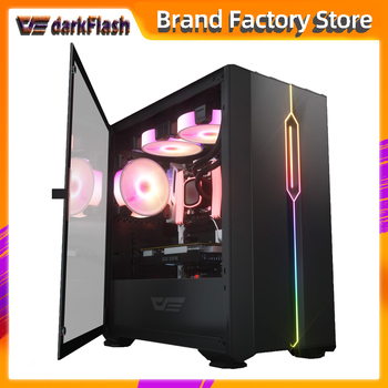 Darkflash DLM23 desktop computer case gabinete gamer completo small mini matx/itx htpc chasis Tempered glass gaming pc case led 2