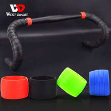2pcs Silicone Bicycle Handlebar Tape Fixed Ring Road Bike Plugs Anti-Skip Rubber Waterproof Wear Resistant Bicycle Accessories