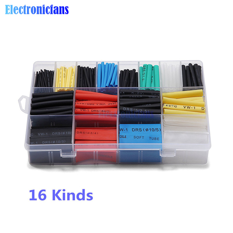 580pcs Polyolefin Shrinking Assorted Heat Shrink Tube 2:1 Wrap Wire Cable Insulated Sleeving Tubing Shrinkable With Box