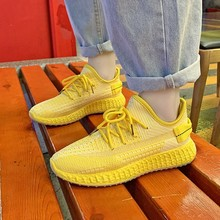 New Spring Shoes Woman Lace-Up White Shoes Woman Elastic Fab