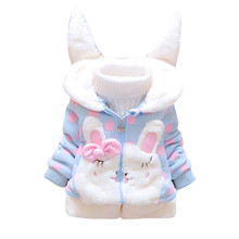Fashion winter jackets Toddler Kids Baby Girl Fleece Warm Thick Rabbit Ears Hooded Coat Outwear Winter Clothes Girls