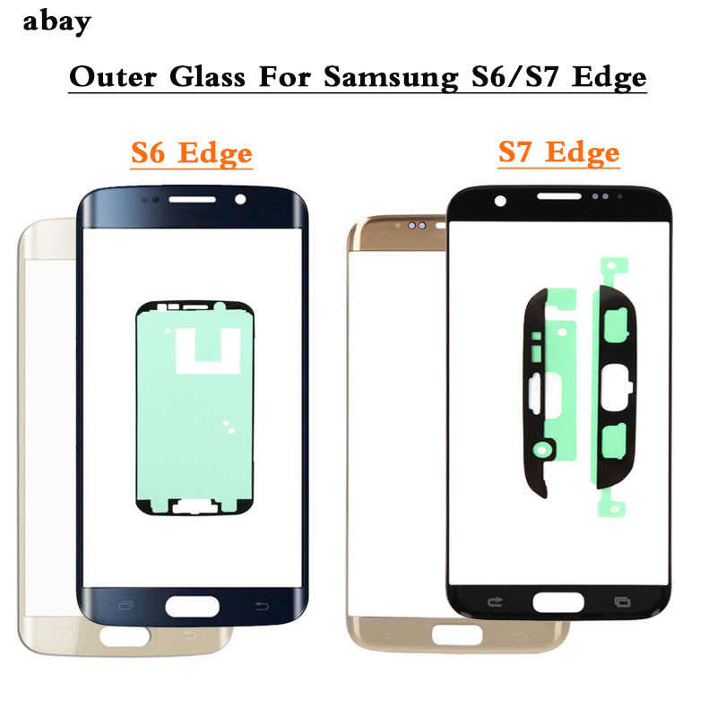 S7 S6 RAND Voor Outer Glas Lens Cover vervanging Voor Samsung Galaxy S6 S7 Rand G925 G935 G935F G935FD LCD glas + Lijm