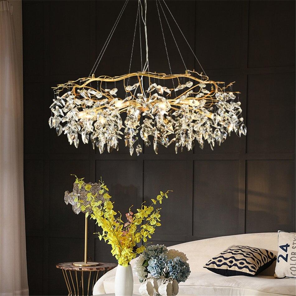 Nordic Luxury Gold Crystal Chandelier Modern Large Lustre Hanging Lamp for Living Room Hotel Hall Art De Hanging Light Fixture
