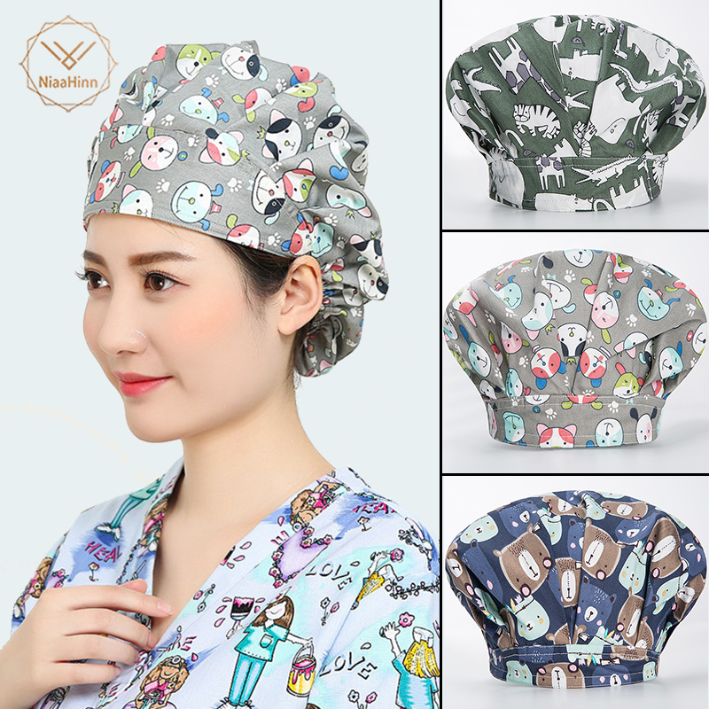 Medical Uniforms Surgical Caps Doctor Nurse Medical Cap Printing Dome Scrub Hat Surgical Caps For Doctor Nurse Clinic Work Wear