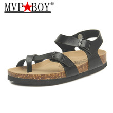 MVP BOY New 2018 summer Top quality woman flats sandals Cork slippers unisex casual shoes size 35-43 pink white black