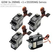GDW 3 חתיכות DS290MG + 1 חתיכה DS595MG HV בינוני דיגיטלי מתכת סרוו מסוק חלקי 450 450L X3 380 420