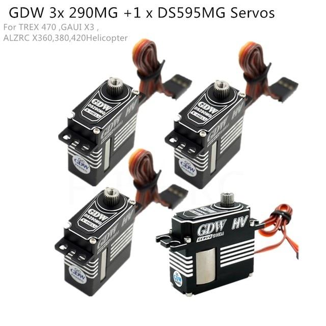 GDW 3 قطع DS290MG + 1 قطعة DS595MG HV المتوسطة الرقمية المعادن مضاعفات هليكوبتر أجزاء ل 450 450L X3 380 420