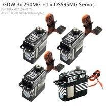 Gdw 3 peças ds290mg + 1 peça ds595mg hv médio digital metal servo helicóptero peças para 450 450l x3 380 420