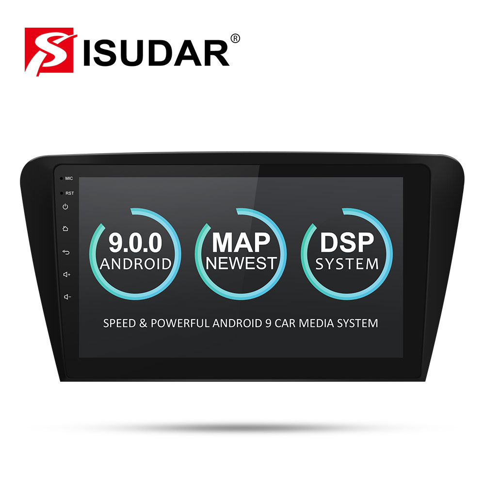 Isudar Car Multimedia Player 1 Din DVD Automotivo Android 9 For Skoda/Octavia 2014 GPS Quad Core RAM 2GB ROM 16GB Radio FM