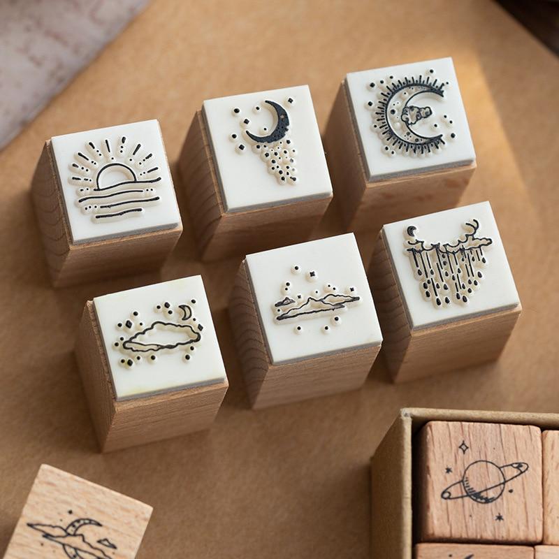 16 Pcs/Lot Vintage Planet Moon Cloud Decoration Stamp Wooden Rubber Stamps for Scrapbooking Stationery DIY Craft Standard Stamp 2