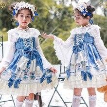 Кружевное Платье До Колена Для Девочек с принтом дворца Лори; милое рождественское платье без рукавов в японском стиле; детское платье в стиле Лолиты; B371