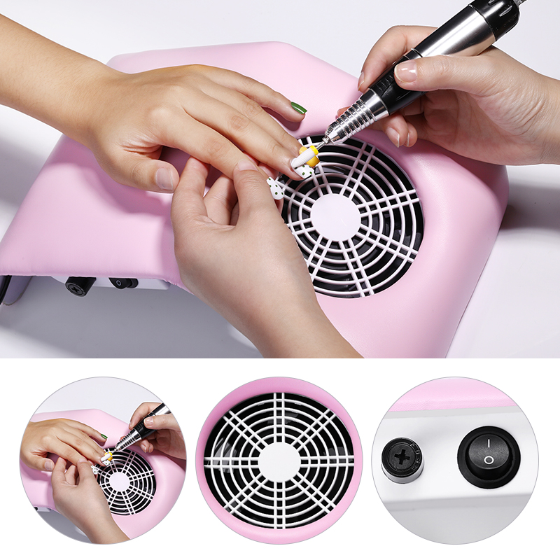 30W/40W Nail Dust Suction Collector 3 Fan Vacuum Cleaner With Dust Collecting Bag Large Size  Powerful Nail Equipment