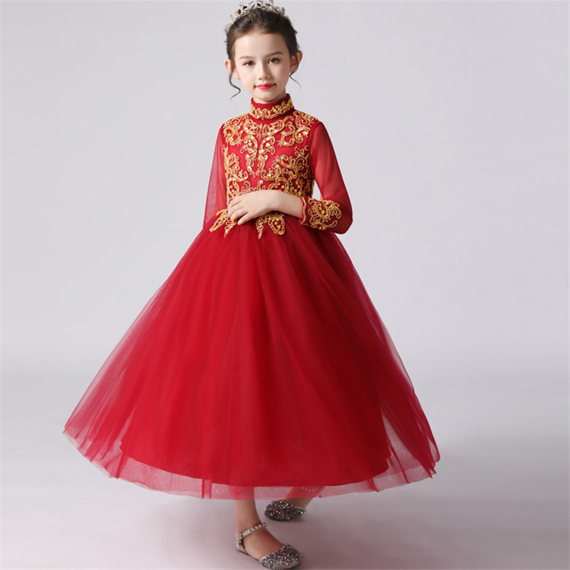 2019Autumn Winter New Chinese Style Girls Children New Year Party Princess Prom Dress Kids Infant Birthday Wedding Party Dress