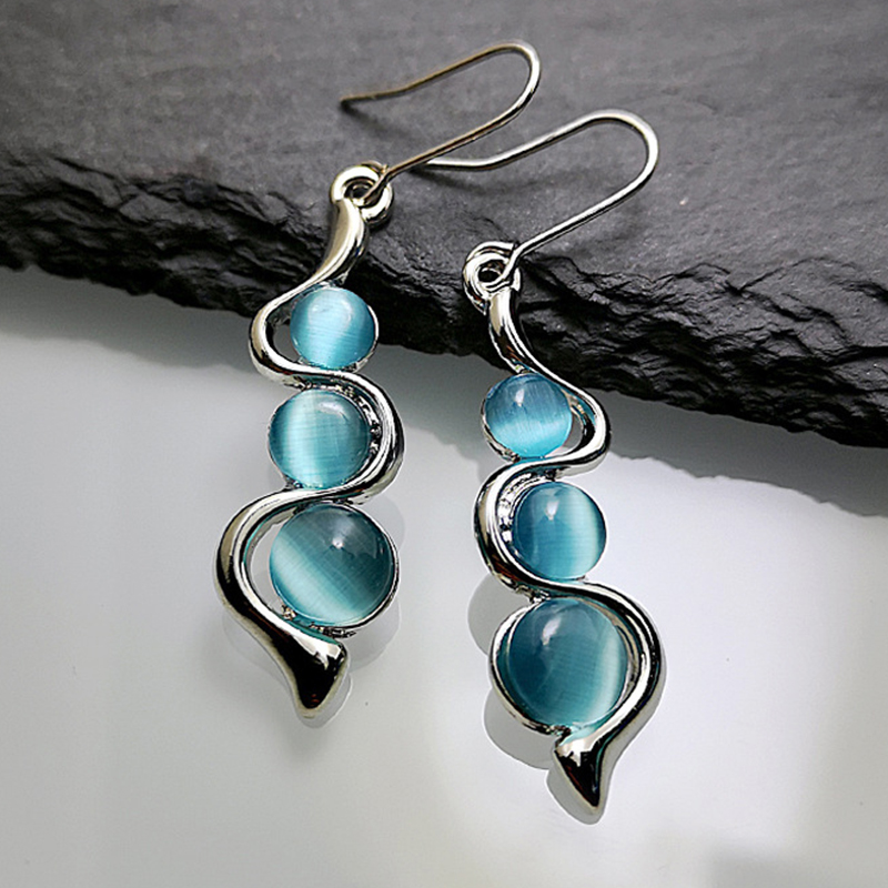 Silver Earrings with French Hook with Blue Zirconia original design creative eardrop for women