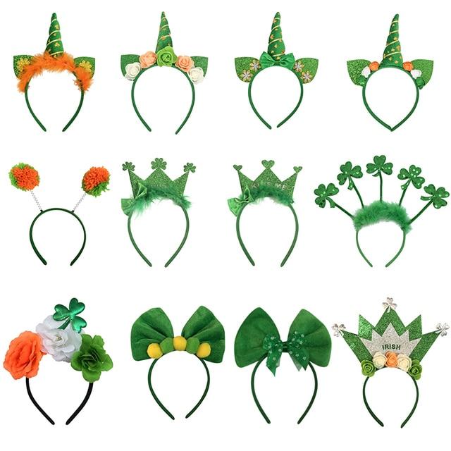Saint Patrick Headband Ireland Clover Green Party Irish Crown Bow Hair Accessory St Patrick's Day Hairband Party Props 1