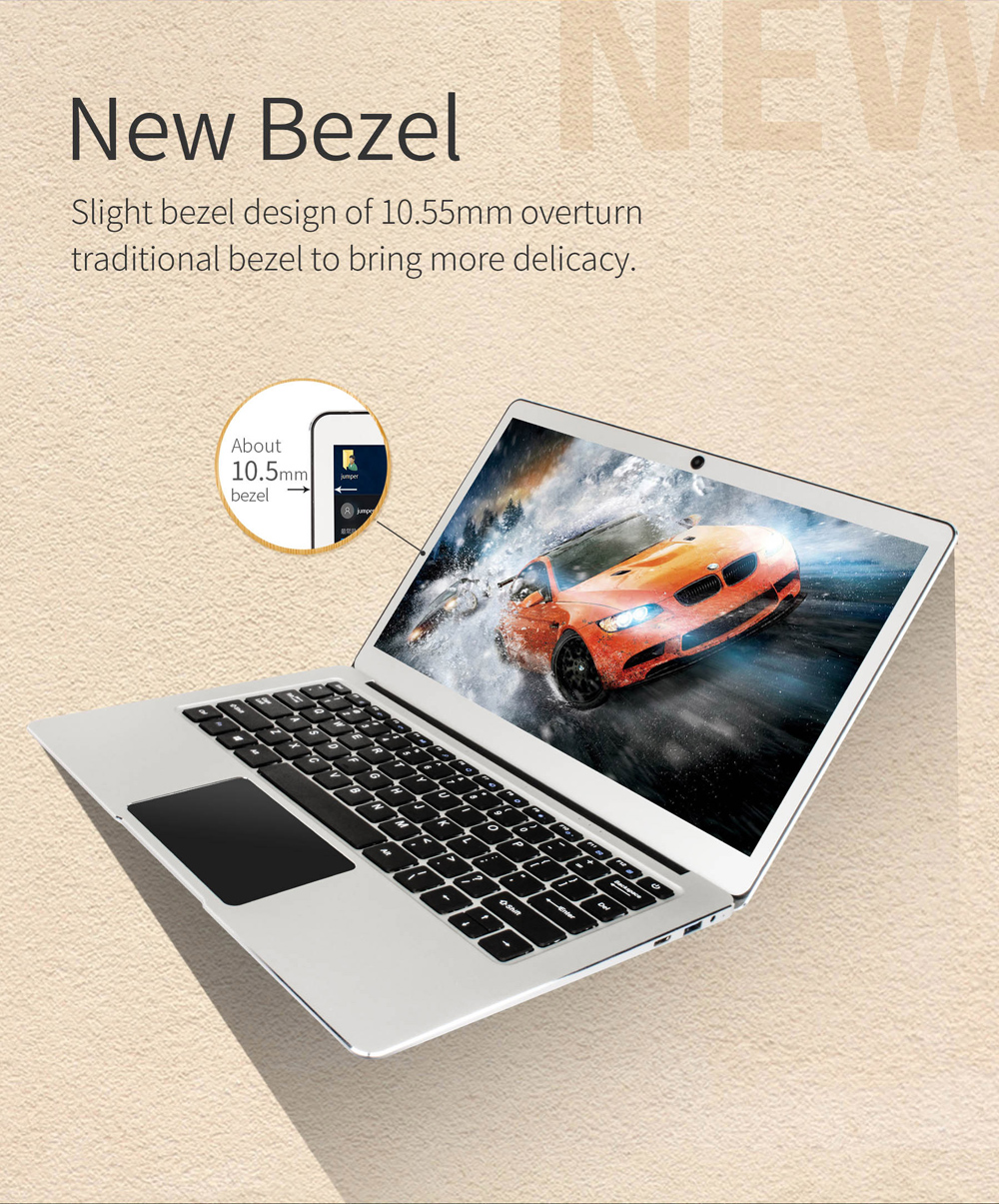 Jumper EZbook 3 Pro Laptop 13.3 Inch IPS Screen Intel J3455 6GB+64GB Notebook 2.4G/5G WiFi With M.2 SATA SSD Slot