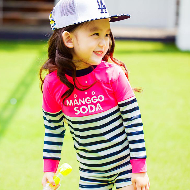 KID'S Swimwear South Korea Small Middle And Large BOY'S GIRL'S Students One-piece Boxer Long Sleeve Sun-resistant Tour Bathing S