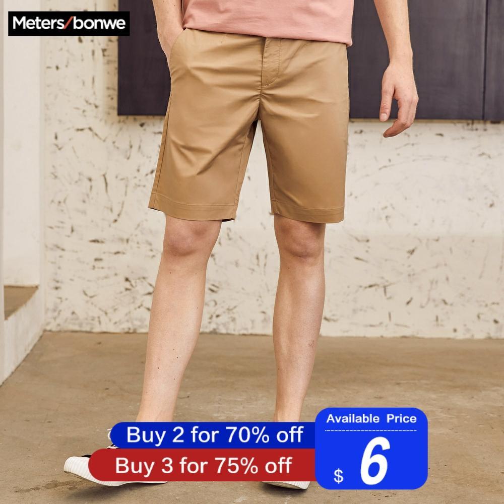 Metersbonwe Men's Summer Casual Shorts Cotton Short Pants Fashion Streetwear Shorts Solid Color Breathable Plus Size