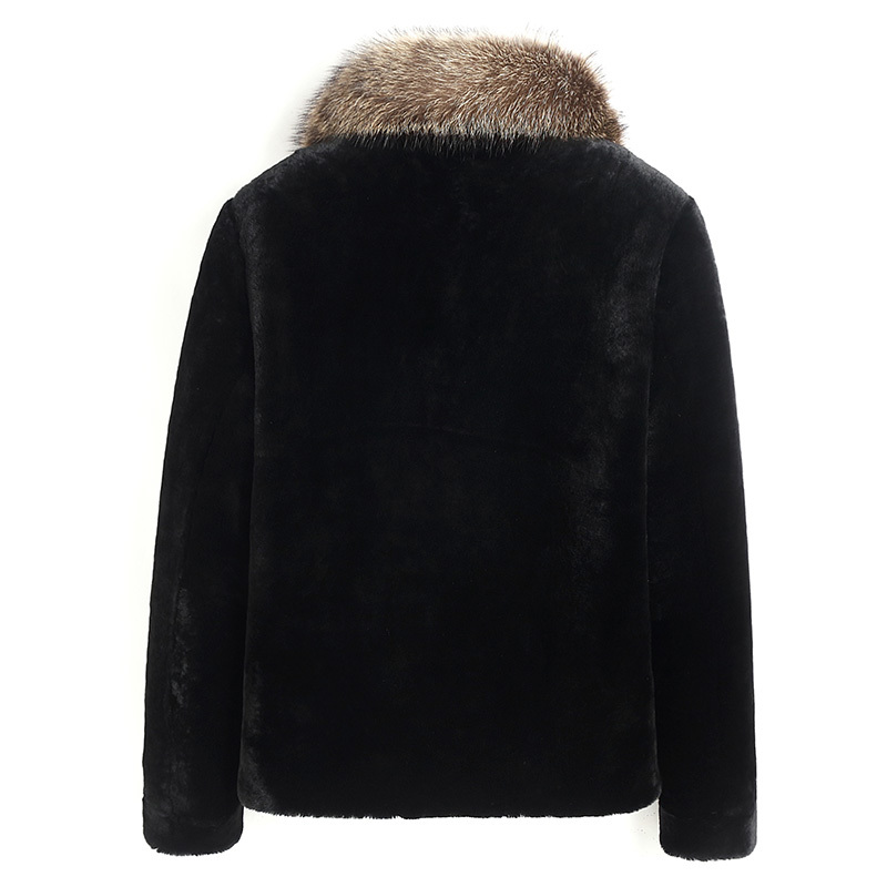 Real Fur Coat Sheep Shearling Fur Coat Autumn Winter Jacket Men Raccoon Fur Collar Jackets Wool Coats Z186018MY1193