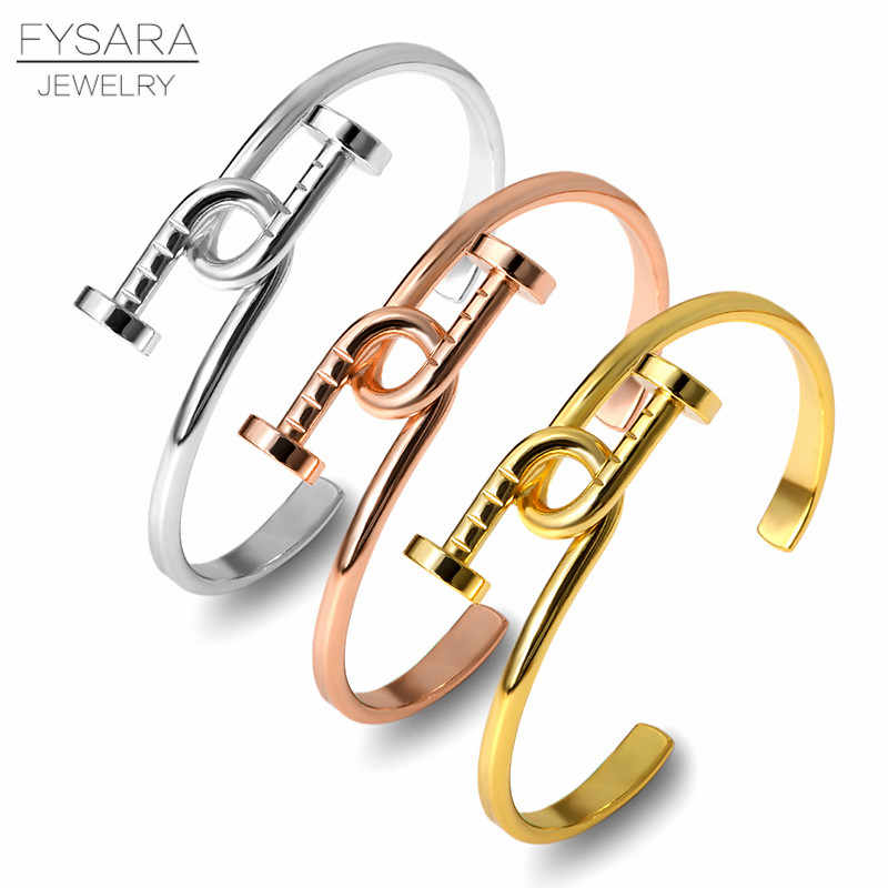 FYSARA Luxury Simple Knot Nail Cuff Bracelet Silver Rose Gold Bracelets Adjustable Open Bangles for Women Men Metal Love Bangle