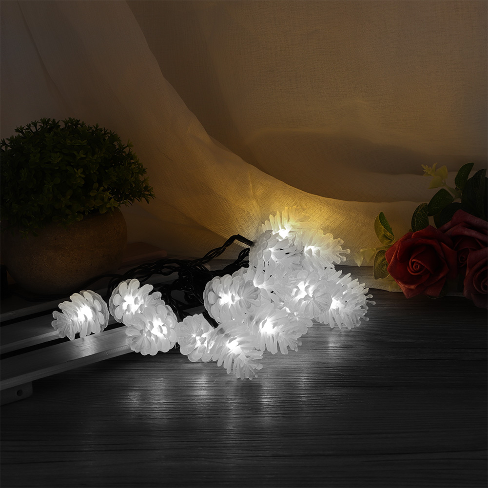 4.8m 20LED Pinecone Style Solar Powered Waterproof Lights String For Courtyard Garden Christmas Tree Wedding Party Decoration