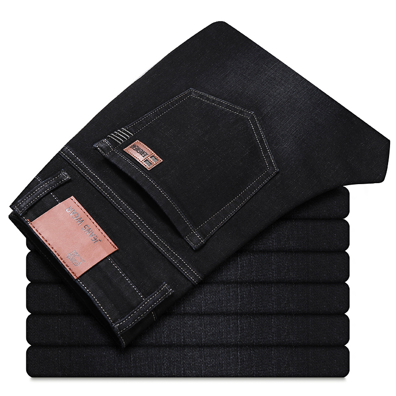 DEE MOONLY Brand 2019 New Men's Fashion Jeans Business Casual Stretch Slim Jeans Classic Trousers Denim Pants Male Black Blue