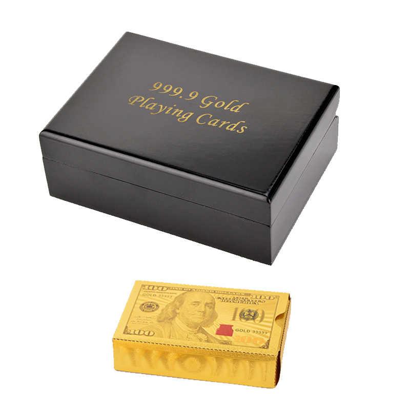 Boîte de cadeaux en bois boîte de cartes à jouer de Poker feuille d'or boîte de cartes de Poker étanche 24K plaqué Poker cartes de jeu d'or avec boîte