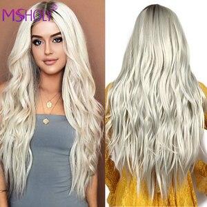 Парик из длинных волнистых волос для женщин, синтетические термостойкие волосы с эффектом омбре, серого, коричневого, медового, светлого цв...