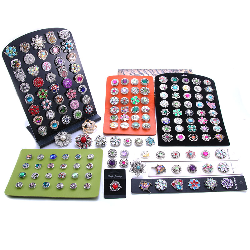New High Quality Snap Jewelry Display Board Fit 1PCS 12mm And 18mm Snap Buttons Jewelry Black Flannel PVC Snap Display Holder