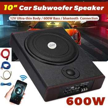 Nowy 600W 10 Cal wzmacniacz samochodowy bluetooth Subwoofer samochodowy sprzęt Audio Slim pod siedzeniem aktywny Subwoofer głośnik basowy Subwoofer samochodowy głośnik niskotonowy tanie i dobre opinie CN (pochodzenie) Car Speaker subwoofer Subwoofery zamknięte 4-16 0 9V PU Leather Wood 12 v super bass 4600g Subwoofers